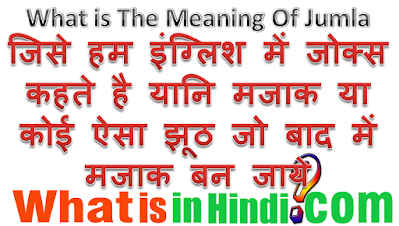What is the meaning of Jumla in Hindi