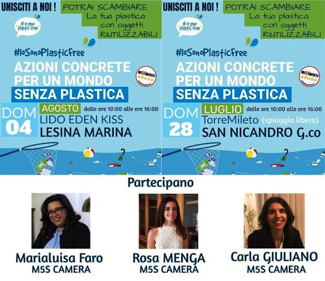 Plasticfree, Torre Mileto e Lesina con #IoSonoPlasticFree si liberano dalla plastica