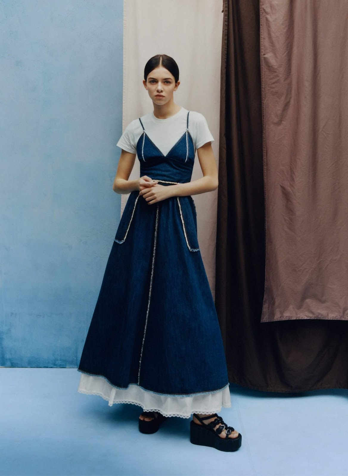Maria Miguel - Brock Collection top. Banana Republic T-shirt. Dior skirt. Prada sandals. Photographed by Tyler Mitchell, Vogue, April 2020