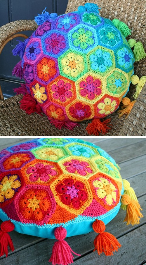 African Flower Cushion - Free Pattern