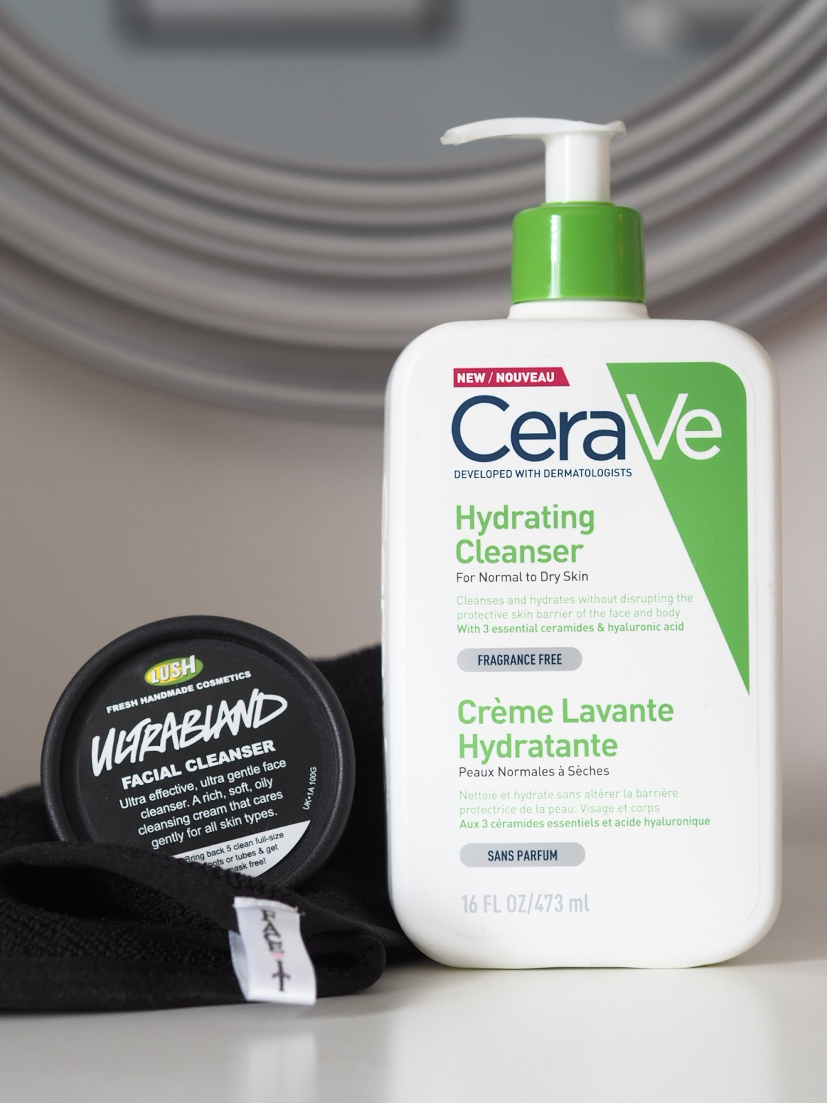Cerave hydrating cleanser and Ultrabland oil based cleanser from Lush