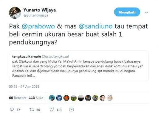 Tengku Zulkarnain Sebut Pendukung Jokowi Bahasanya Kasar, Yunarto Wijaya: Tahu Tempat Beli Cermin?