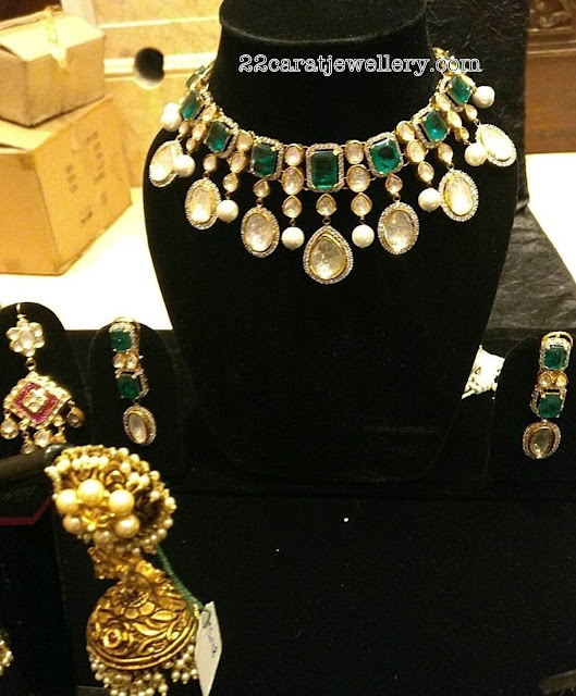 Large Polki Emerald Rich Choker