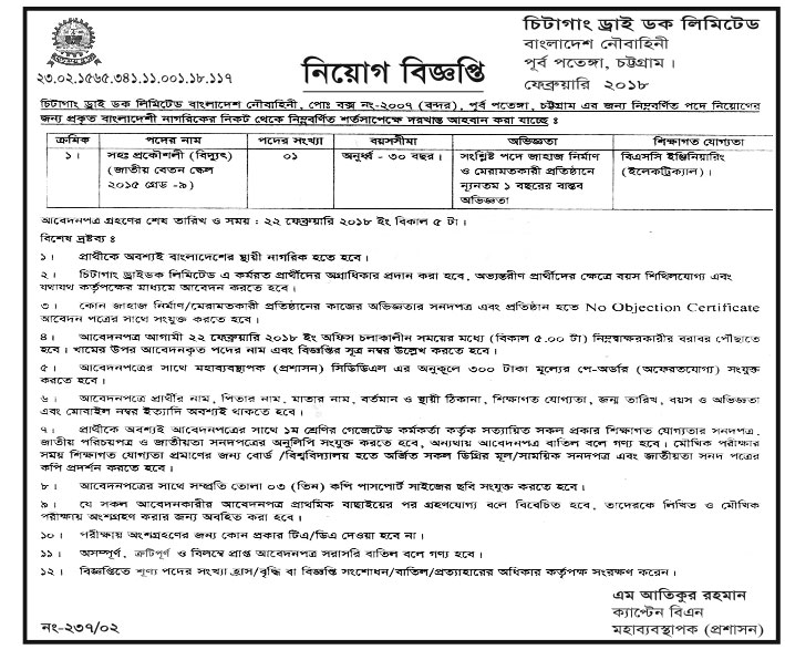 Chittagong Dry Dock Limited Assistant Engineer (Power) Apply Instruction, Payment Process, Salary, Age and Other Information