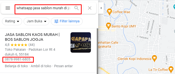 Mencari Nomer Whatsapp di Google Maps