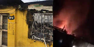 Ibadan Angry Mobs Sets MTN Office In Bodija On Fire