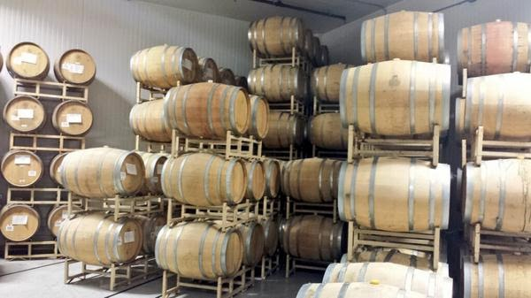 Barrels at Societe Brewing.
