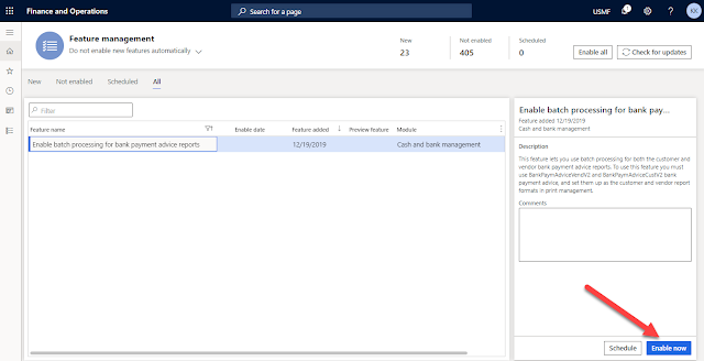 Enable batch processing for bank payment advice reports