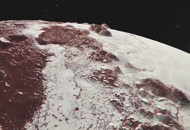 Sputnik Planitia registrado pela New Horizons durante um sobrevoo em Plutão