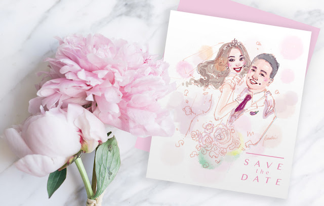 Wedding save-the-date design, custom portrait illustration invitation card on marble table with tender pink piony buket flowers