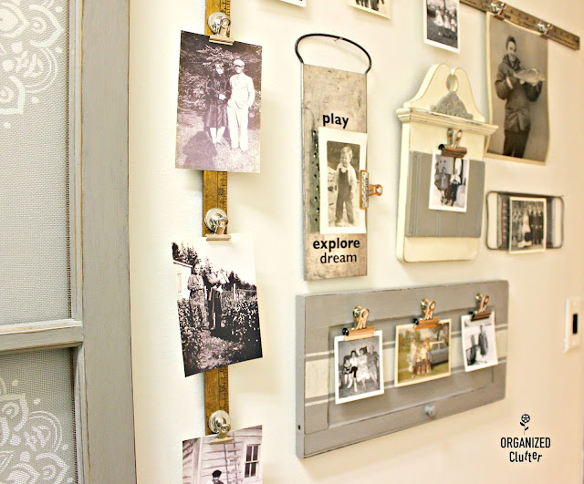 Upcycled Garage Sale Cabinet Door Photo Display #stencil #oldsignstencils #upcycle #repurpose #photodisplay #photodisplayideas