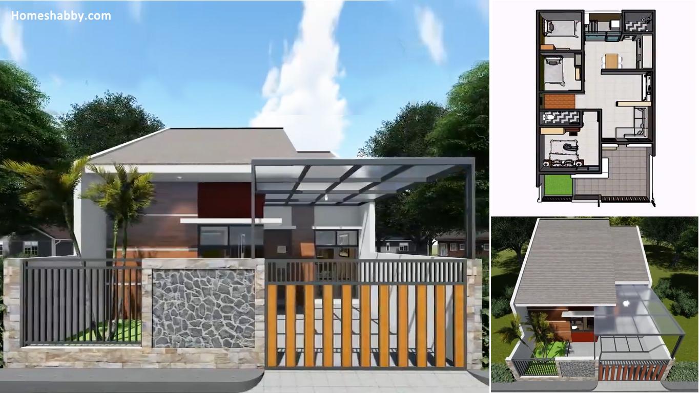 Desain dan Denah Rumah Minimalis Modern 7X14 M dengan 3 ...
