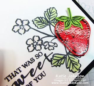 Luscious looking strawberry using Stampin'UP!'s Sweet Strawberry stamp set and Strawberry builder punch. Clear emboss the strawberry for a wet look.