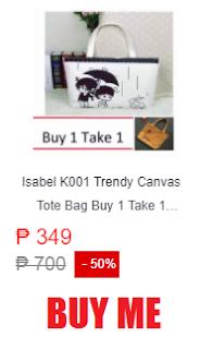 Isabel K001 Trendy Canvas Tote Bag Buy 1 Take 1
