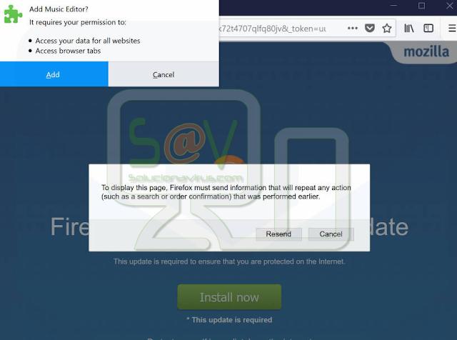 Music Editor (Extensión falsa de Firefox)