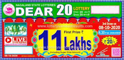 Lottery Sambad Dear 20 Lottery 08-10-2020 Results 4:30 pm, Nagaland State Lottery Result, Dear 20 Lottery Result Today, Dear 20 Lottery