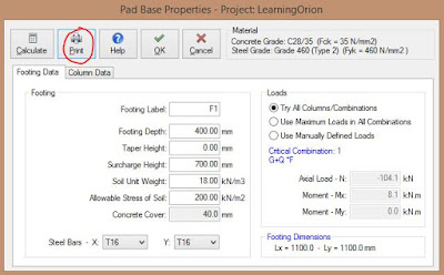 Pad Base Properties Dialog Box for printing design report