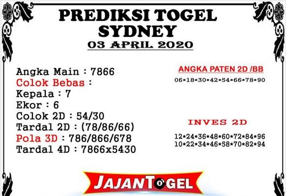 Prediksi Togel Sidney Jumat 03 April 2020 - Prediksi Jajan Togel