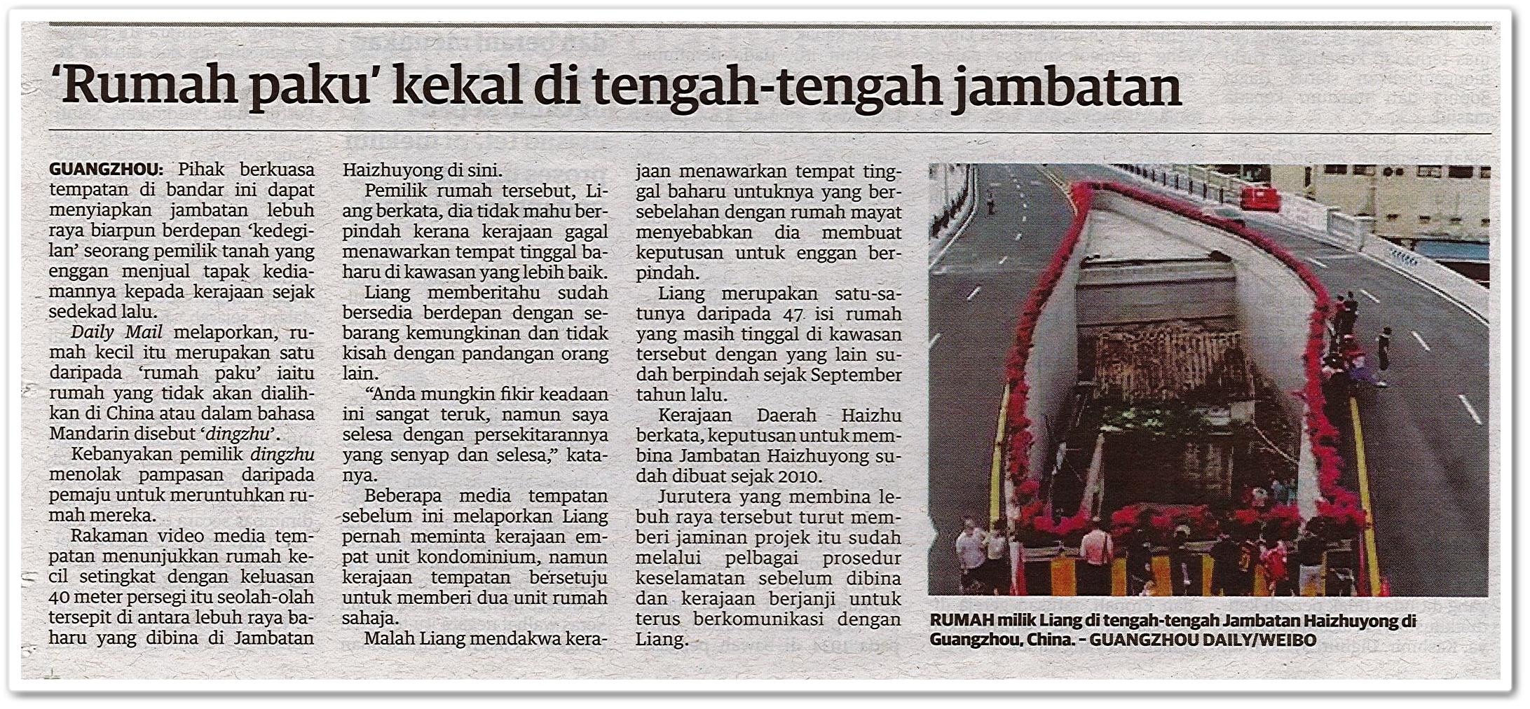 'Rumah paku' kekal di tengah-tengah jambatan - Keratan akhbar Utusan Malaysia 8 Ogos 2020