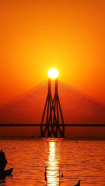 Wallpaper Bridge Sunset Sea