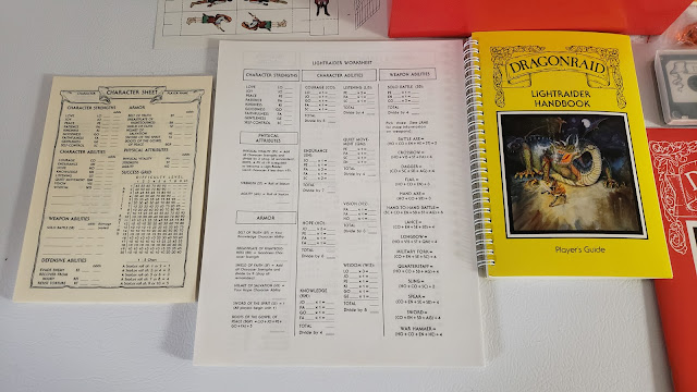 The DragonRaid RPG Box contents 2, Lightraider sheets