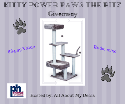 Enter the Kitty Power Paws The Ritz Cat Tree Giveaway. Ends 10/20