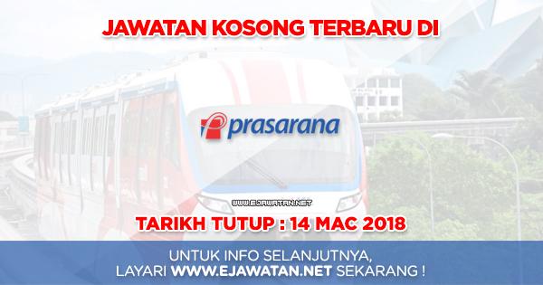 jawatan kosong terbaru Prasarana Malaysia Berhad 2018