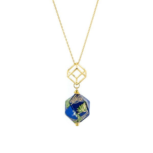origami necklace with folded paper diamond and gold findings