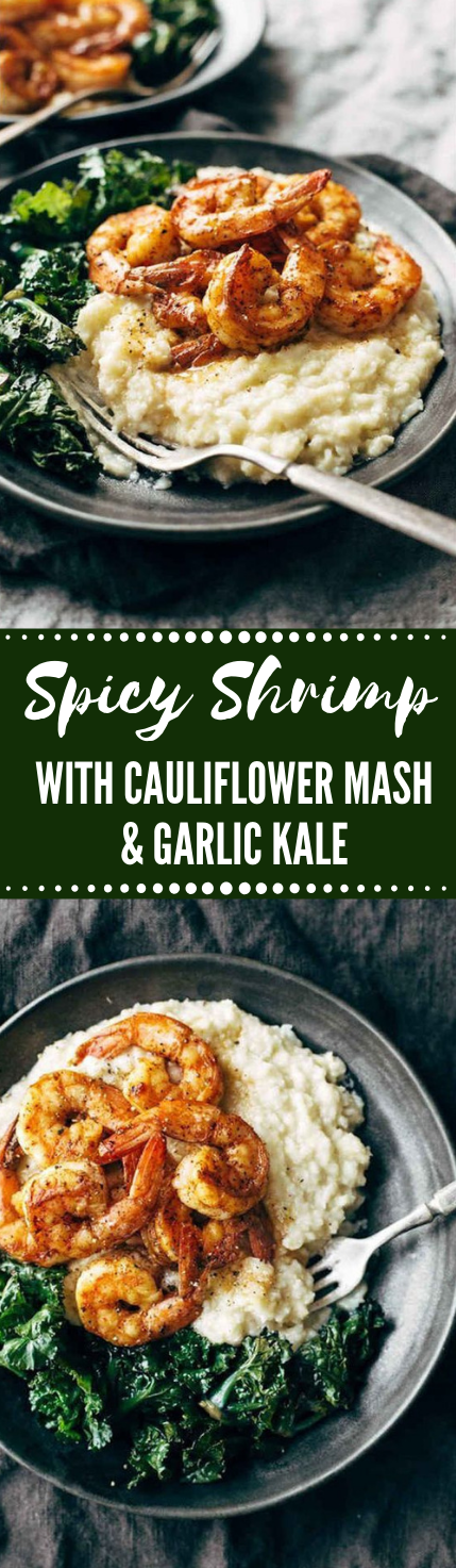 Spicy Shrimp with Cauliflower Mash and Garlic Kale  #healthydinner #recipes #cauliflower #lunch #easy