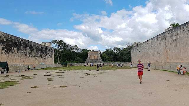 The ancient ball court at Chichen Itza...