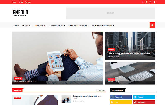 Enfold Blogger Template adalah tema blogger majalah yang terlihat premium dan dirancang secara profesional.
