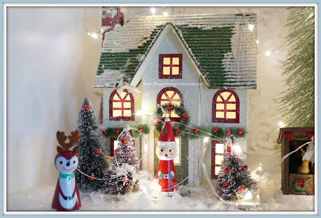 French -Farmhouse -Cottage -White -Dining -Room- Cabinet-Christmas- Vignettes-Whimsy-From My Front Porch To Yours