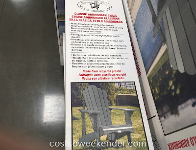 Costco 1031576 - Leisure Line Classic Adirondack Chair: great when the weather is nice out
