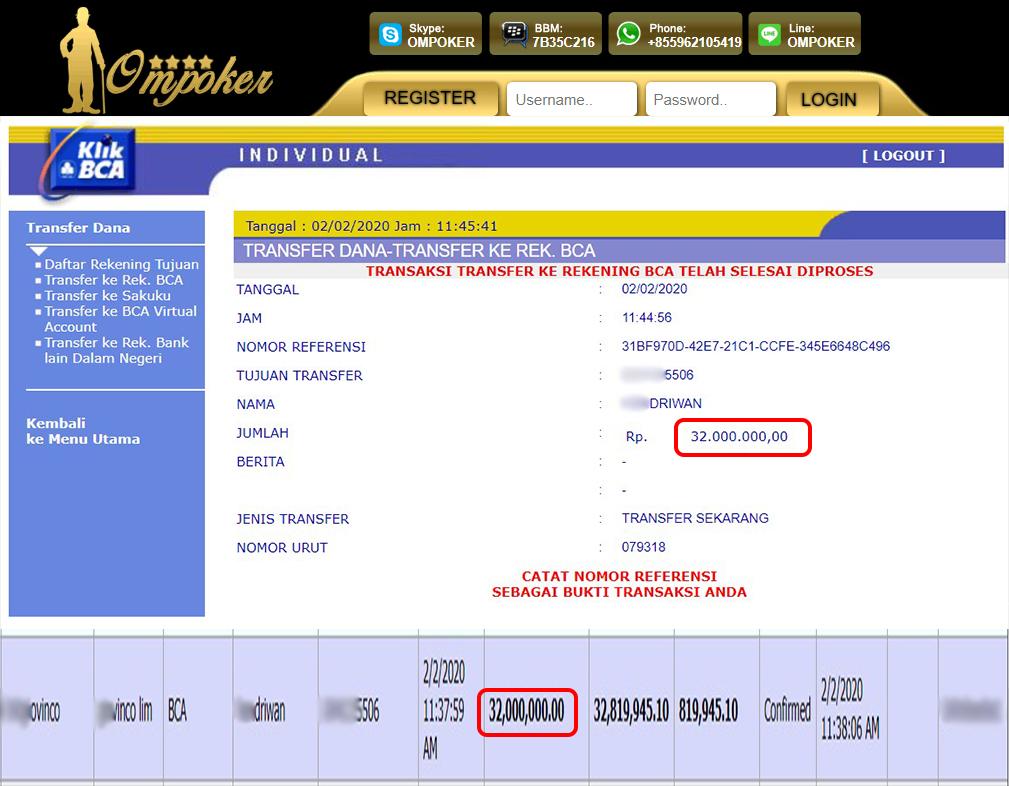 Selamat Kepada Member Setia Ompoker WD Rp 32.000.000