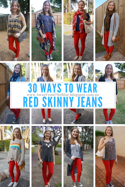 30 ways to wear red skinny jeans | away from the blue blog