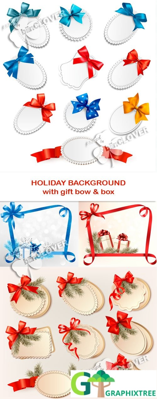 Vector Holiday background with gift bow and box 0531