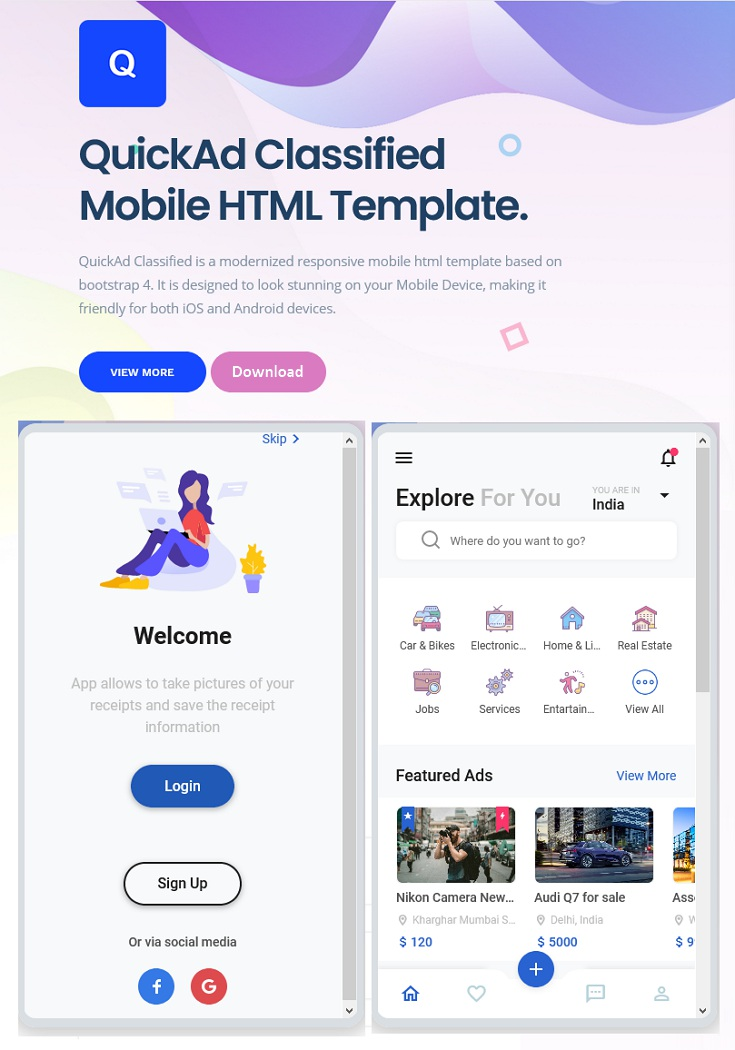 Classified Mobile HTML Template