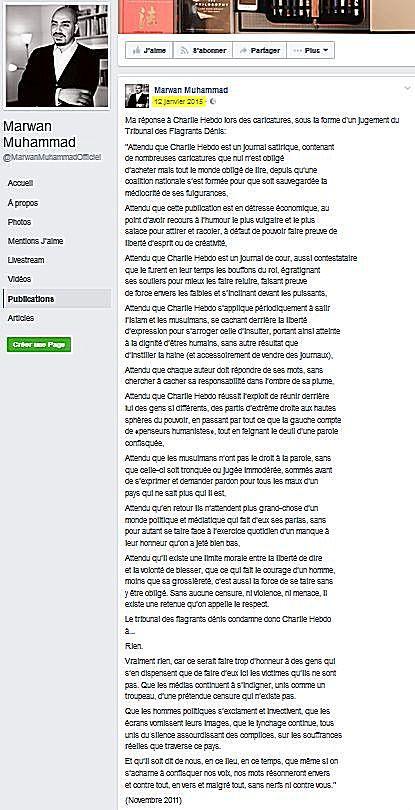 """Texte haineux de Marwan Muhammad envers Charlie Hebdo publié en janvier 2015, 5 jours après le massacre et lendemain de la manifestation nationale """"Je suis Charlie"""""""