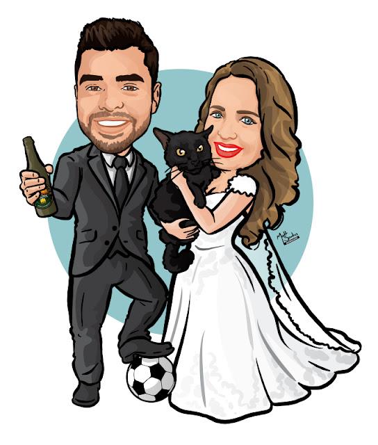 Caricatura de Casamento com Animal