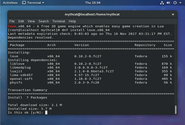 About me and my life    : Fedora 27 : lua programming with