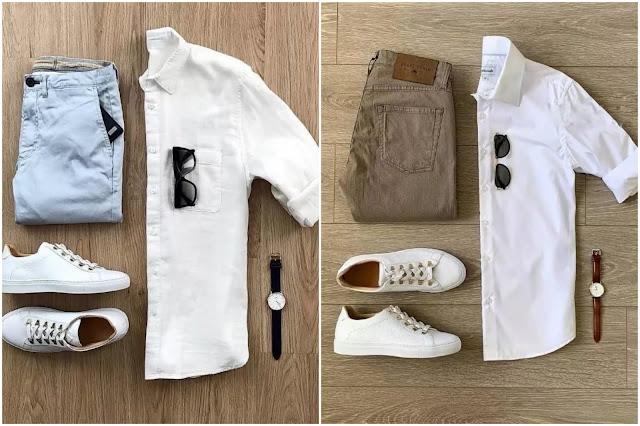 White shirts with chinos