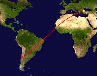 Türkiye Şili mesafe haritasi