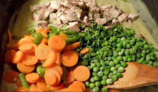 Adding Veggies and Turkey