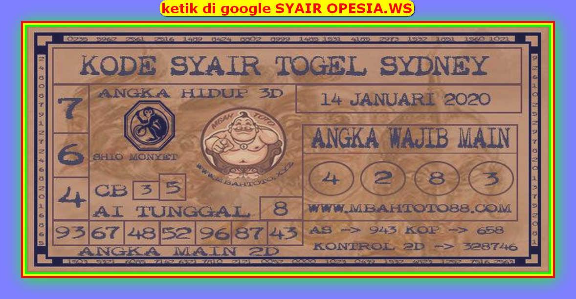 Kode syair Sydney Selasa 14 Januari 2020 116