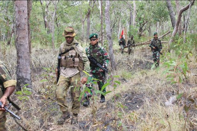 Satgas Kostrad Patroli Bersama Tentara PNG Di Daerah Perbatasan