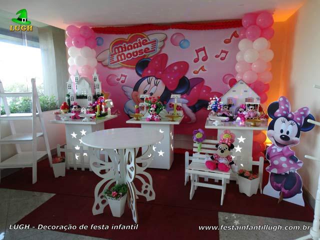 Decoração provençal - Mesa de aniversário Minnie rosa para festa feminina