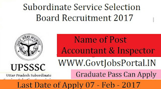 Subordinate Service Selection Board Recruitment 2017 –Accountant / Inspector Officer