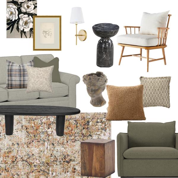 Mood board for living room design