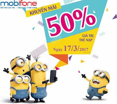 Khuyến mãi Mobifone tặng 50% giá trị thẻ nạp ngày 17/3