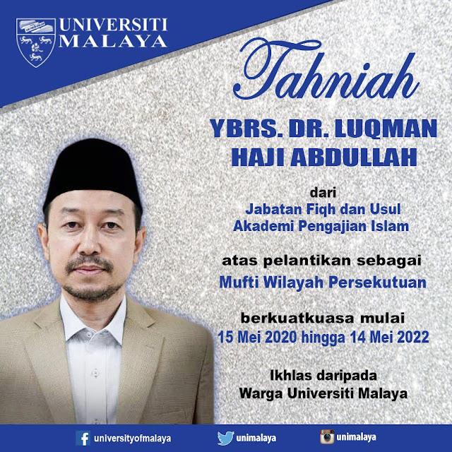 Dr. Luqman Dilantik Sebagai Mufti Wilayah Persekutuan Baharu Ke-8